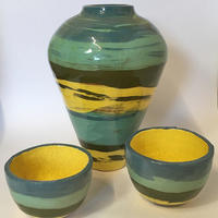Slip Decorated Vase and Bowls