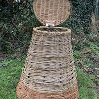 Steel framed compost bin, woven with willow.