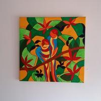 Abstract Modern Art of Parrots made using Acrylic colours on Canvas board