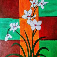 Flowers on Canvas board using Acrylic colours