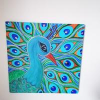 Peacock Painting made using Acrylic colours on Canvas board