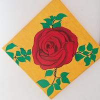 Red Rose made using Acrylic colours on Canvas board