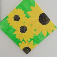 Sunflowers on Canvas Board using Acrylic colours