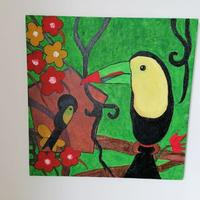 Toucan on Canvas board using Acrylic colours