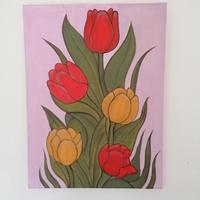 Tulips on Canvas Board using Acrylic colours