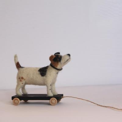 Norman The Needle Felted Terrier, On Wheels