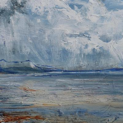West Shore Beach, Llandudno North Wales. Oil on board  in white wooden frame. H30cm x 37.5cm