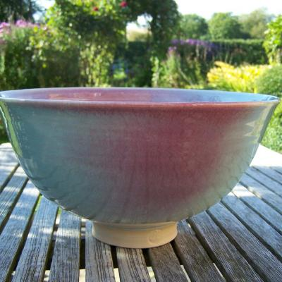 "Stoneware; large bowl; ""blush peach"" glaze; various sizes (max. approx. 30 cm. diameter); available to order"