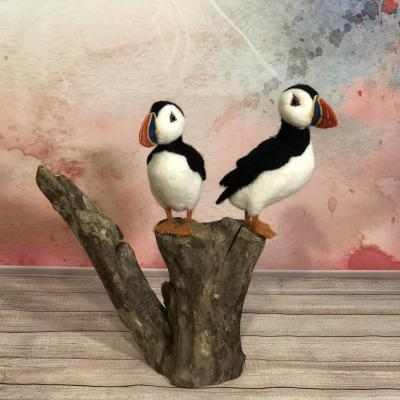 Puffins on driftwood. Needle felted Sculpture over wire armature