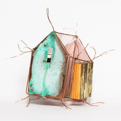 Fetish House; copper wire, verdigris, shim and found wood