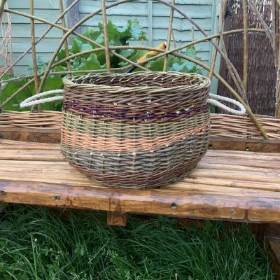 A large willow basket made with 4 varieties of willow.