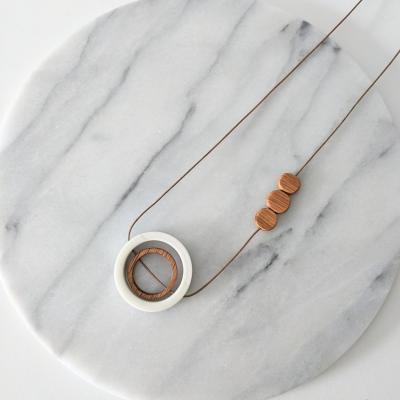 porcelain and oak geometric necklace