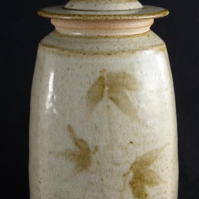 Reduction fired wood ash glaze with iron oxide brushwork (30cm)