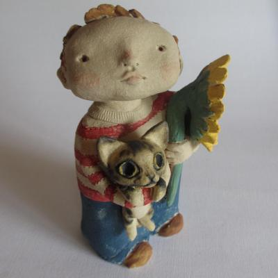 Boy, Cat, Sunflower - stoneware with coloured slips and oxides