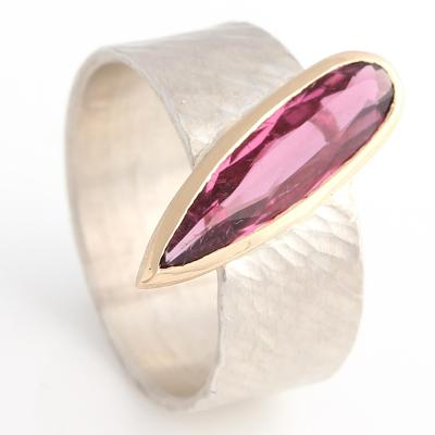 Pink Tormaline Ring, sterling silver Rays band with 18ct rose gold setting.