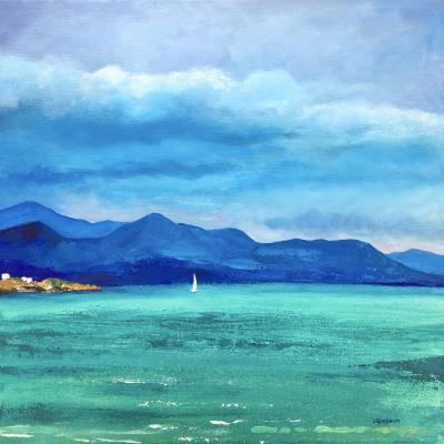 'Finding The Turquoise' - Blue mountains and turquoise seas, acrylic on canvas.