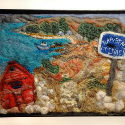 This Way to the Beach. Wet felted, needlefelted and machine embroidered view on the island of Halki.