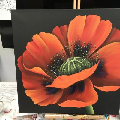 'The Poppy' - 49.5cm x 49.5cm canvas using acrylic paints