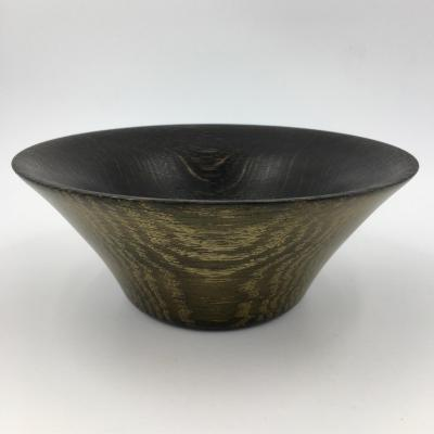 The Gracefully Simple Flowing Curved Lines of a Turned Gilt Black Oak Bowl, 200mm diameter by 80mm high, (Guide Price £55.00)