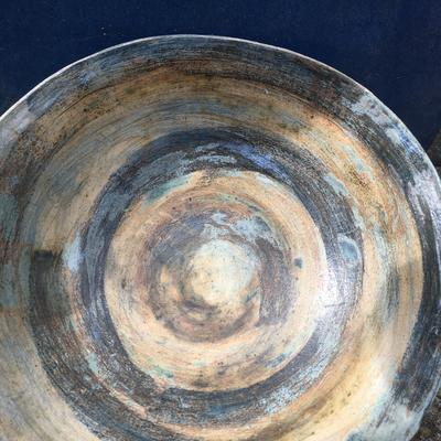 """Stoneware bowl approx 12"""" diameter with oxides and transparent glaze."""