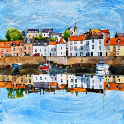 Original painting-St Monans, Fife. Framed in triple white moulding with art glass 53cm x 53cm. £495.00