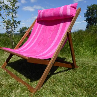 Wide boy hard wood deckchair, with home dyed canvas and velvet , head cushion and free stitch .