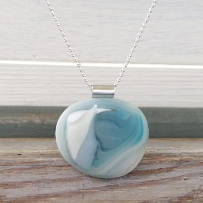 Glass pebble pendant necklace in soft blues and aqua