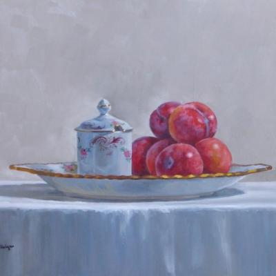 Plums Pot and Dish Oil on Panel
