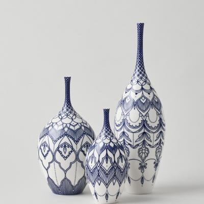 Thrown Porcelain Bottles with Hand painted cobalt blue decoration. All one off pieces