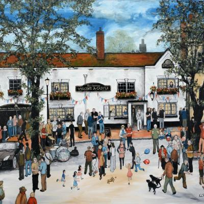 My paintings show the life of a community. Street party at the Virgins & Castle pub in Kenilworth.