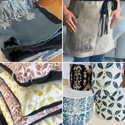 Block printed textiles at Maple Barn Studio