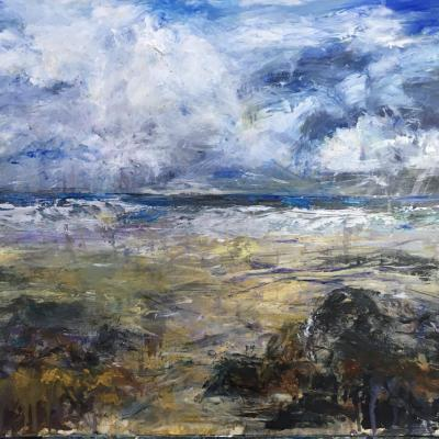 Wild sky day, St Ives.     65 x 45cm, mixed media.