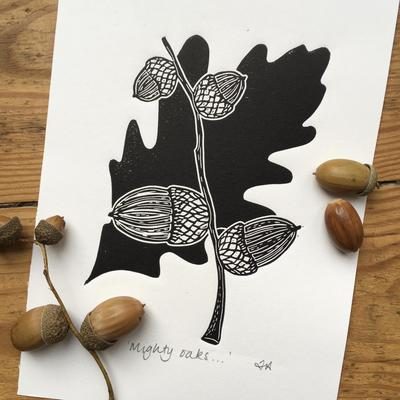 Linocut Print of Acorns