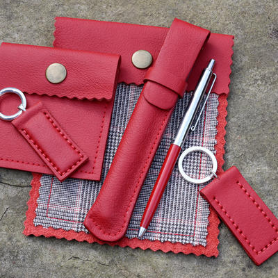 Red leather, Tartan & Leather Travel Pouch, Sterling Silver & Leather Keyring, Leather Penholder all made from pre loved, upcycled leather