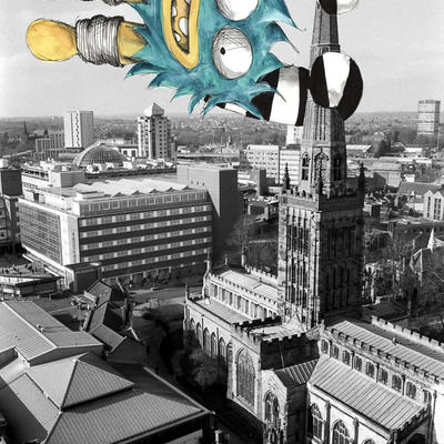 Monster on Holy Trinity Spire Coventry