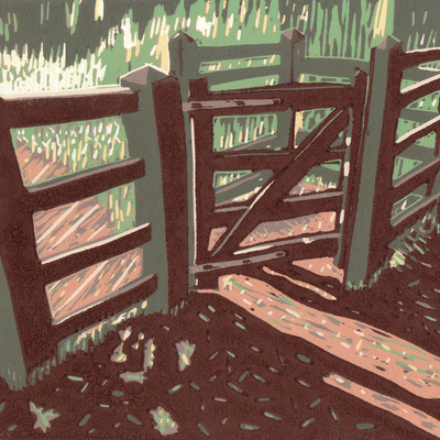Kissing Gate linocut KJ Matthews