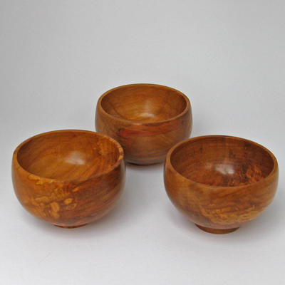 A trio of spalted beech bowls