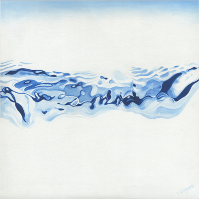 Waterline 3 - Abstract blue and white painting