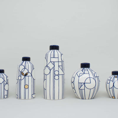 Ginger Jars inspired by Frank Lloyd Wright's stained glassed windows