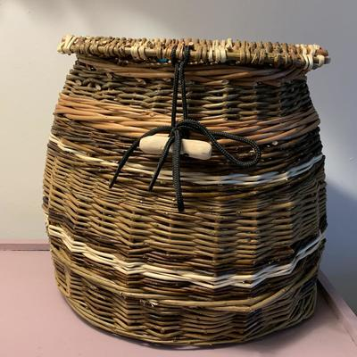 Willow weaved backpack basket
