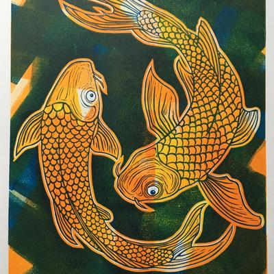 Koi Carp: Two layer limited edition linocut print