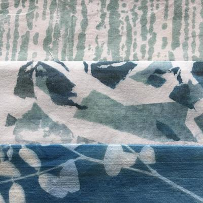 Screen prints and cyanotype; pieced wall hanging.  Detail