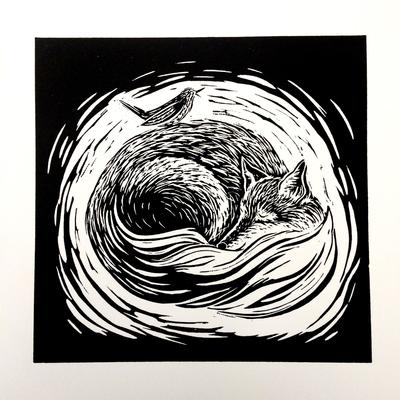 Linocut:  'Winter Lullaby'