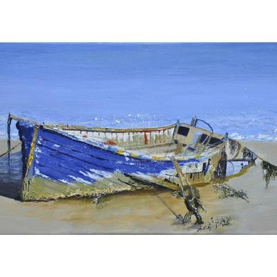 old boat Suffolk acrylic on canvas unframed 31cmx60.5cm(1ftx2ft) SOLD prints being arranged .