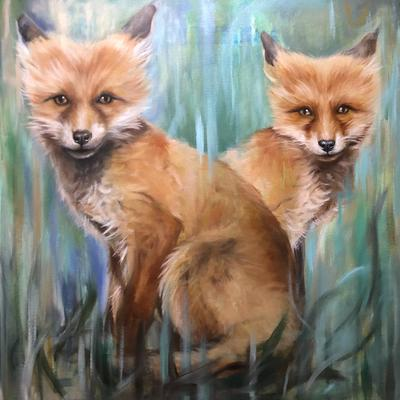2 Foxes - Oil on canvas