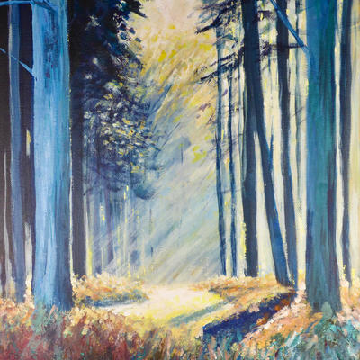 Evoking light and atmosphere.  Acrylic on canvas