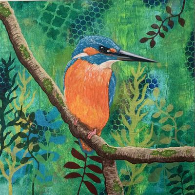'Kingfisher' Acrylic paint on Mixed Media Canvas Size: 30cm x 30 cm.  Impasto painting with gelli printed and stencilled background.