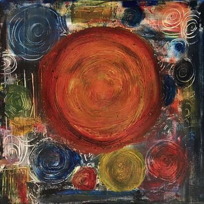 'Circles II' in acrylic on canvas