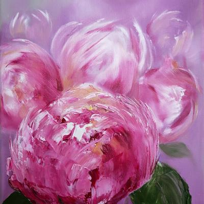 'Pink Peonies' Oil on 23 x 30cm Canvas