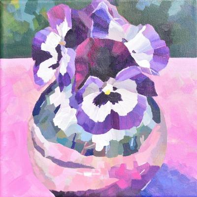 Velvet Violas, acrylic on canvas, greeting cards available